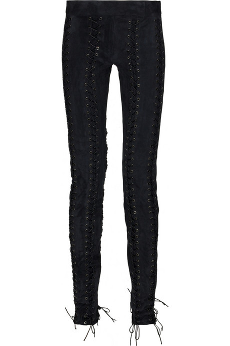 roberto cavalli lace-up suede pants